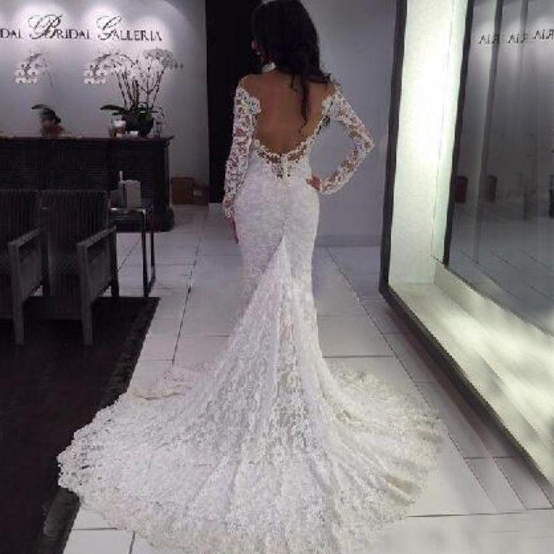 Elegante ingerichte kant trouwjurken sexy pure halslijn off the shoulder mermaid lange mouwen bruidsjurken backless hof trein op maat gemaakt