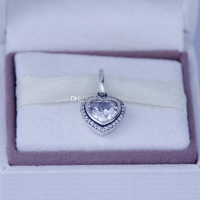 Garantie 100% 925 Sterling Silber Schmuck Silber Herz Anhänger mit klaren Cz passt Pandora Armband Diy Perlen Großhandel Mode 1pc / lot