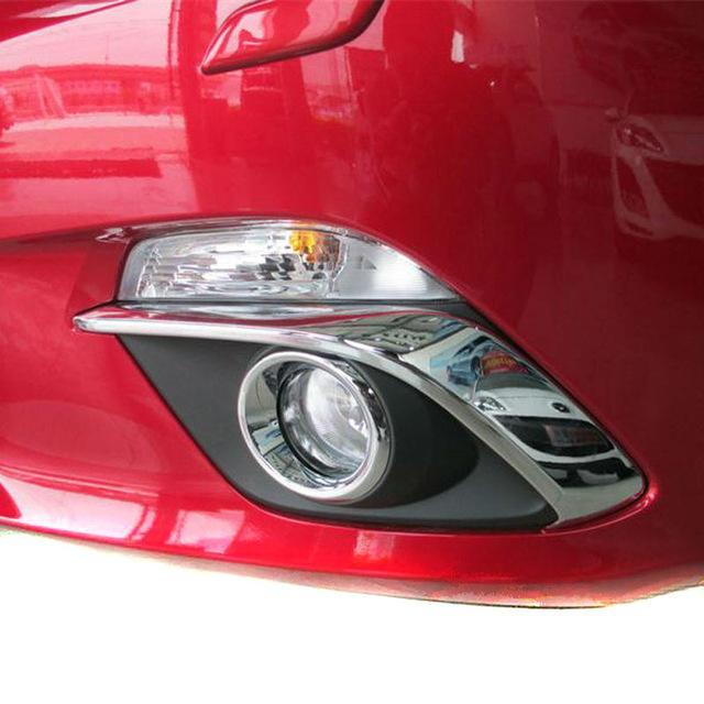 2014 2015 Mazda 3 guarnição tampa da lâmpada Axela ABS Chrome Frente nevoeiro sobrancelha pálpebra nevoeiro Car Styling Acessórios 2pcs / set