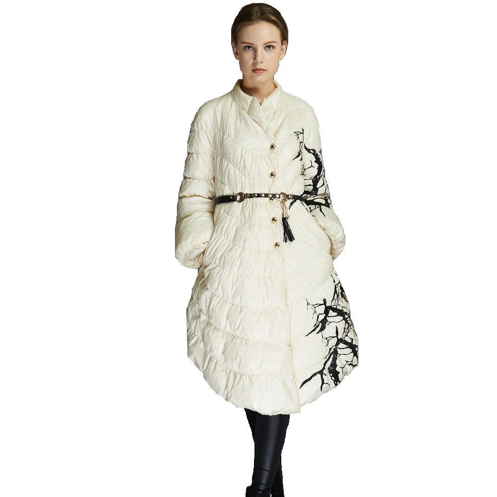 European Fashion Designer 2016 Parkas For Women Winter White Duck Down Parka Long Printed Jacket Coat With Pocket