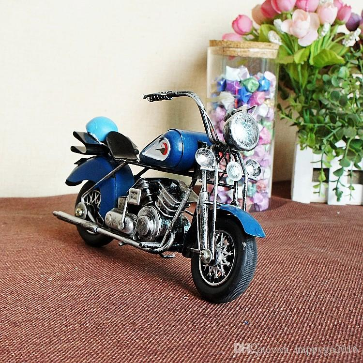 2018 vintage handmade craft iron made motorcycle model ornaments