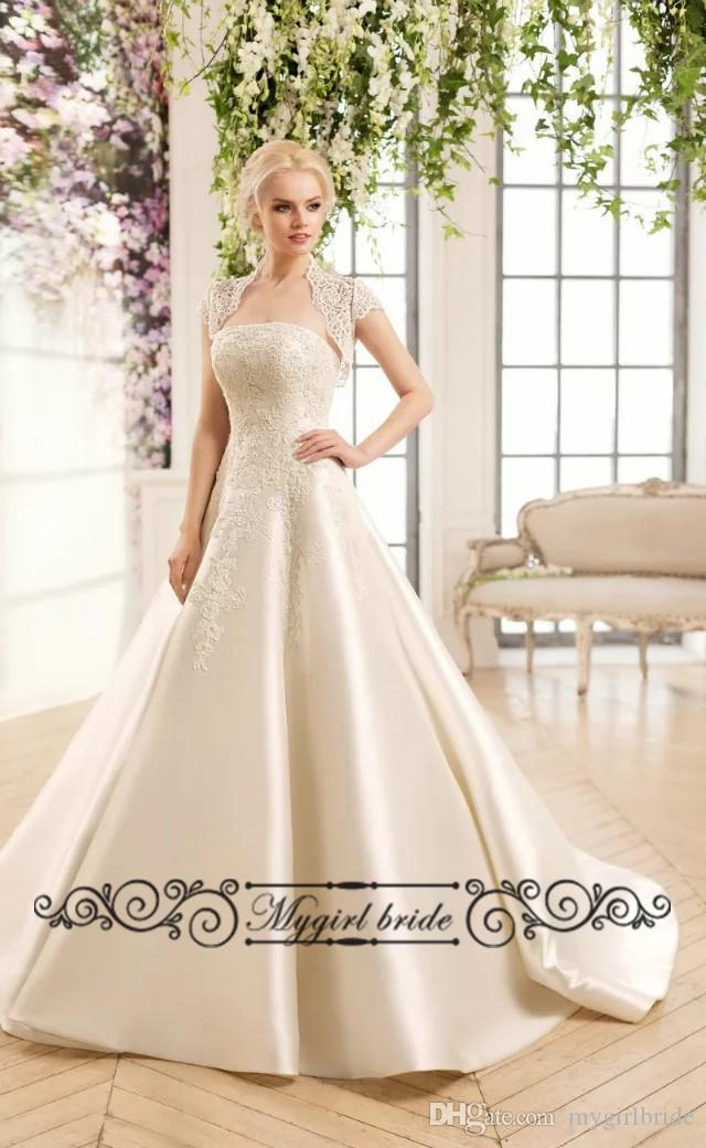 Discount Champagne Wedding Gowns With Detachable Jacket Vintage ...