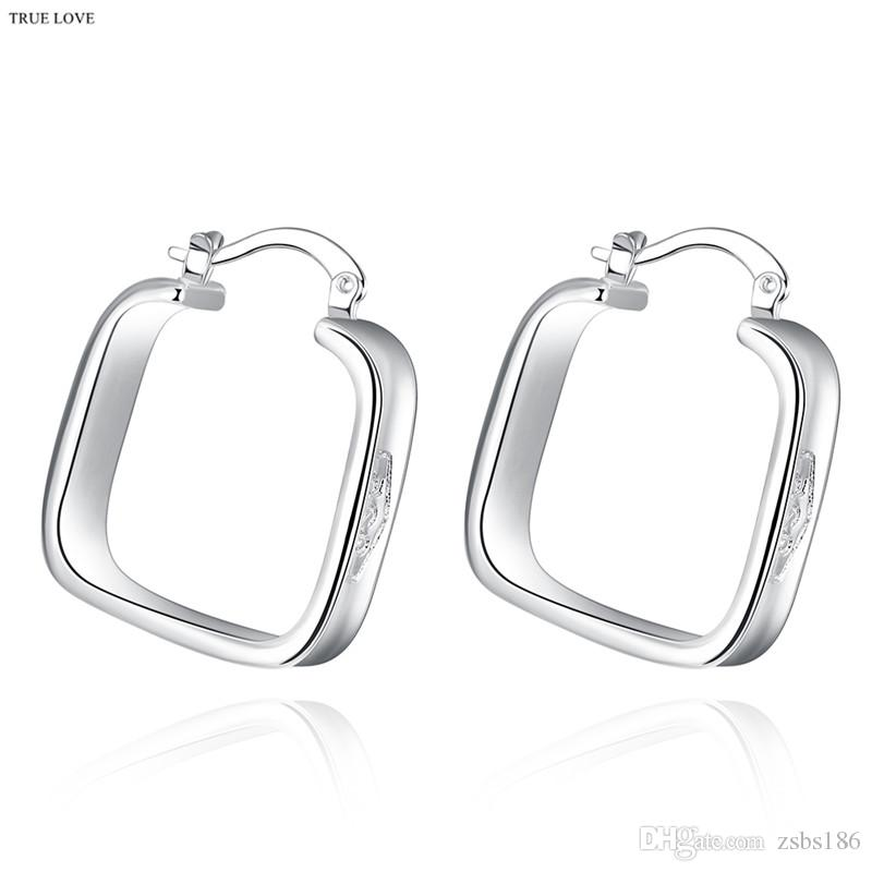 Fashion hoop earrings 925 silver jewelry woman cool geometric style 2.5 x 2.0cm top quality Christmas gift Europe Hot free shipping