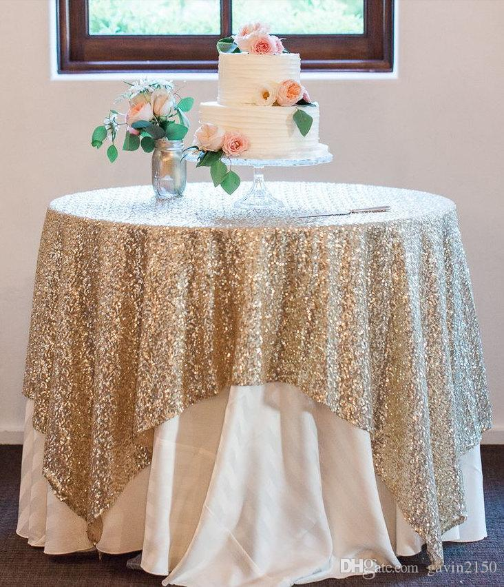 Free Shipping High Quality 90inch Square Gold Silver Sequin TableCloth Wedding Beautiful Gold Silver Sequin Table Overlay