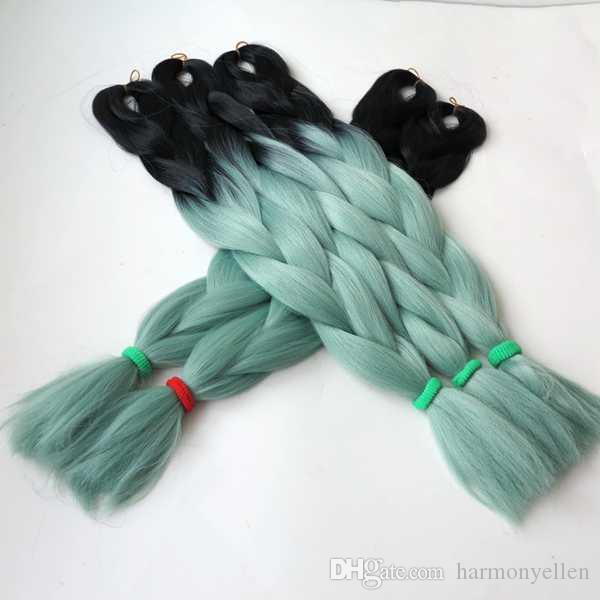 STOCK Black+Light Green two tone dip dye omber color jumbo braid hair ombre synthetic braiding hair