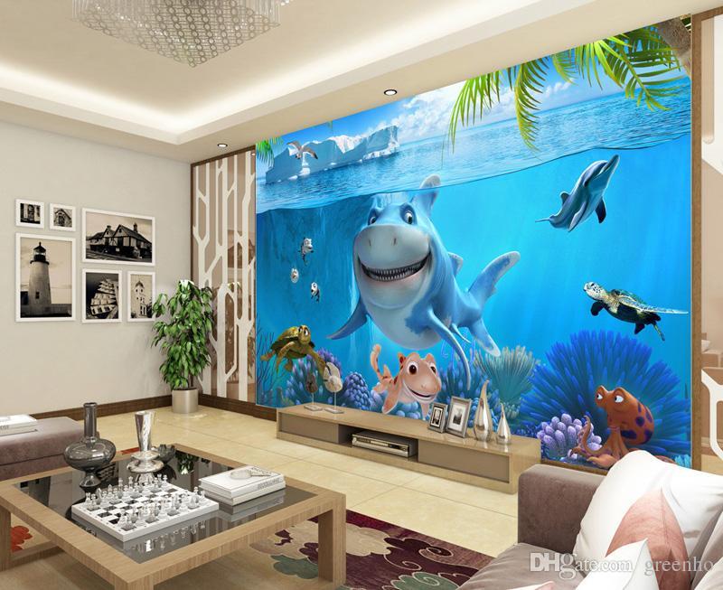 ... 3D Cute Shark Wallpaper Underwater World Wall Mural Personalizados  Papel De Parede De Fotos Personalizado Kids ... Part 62