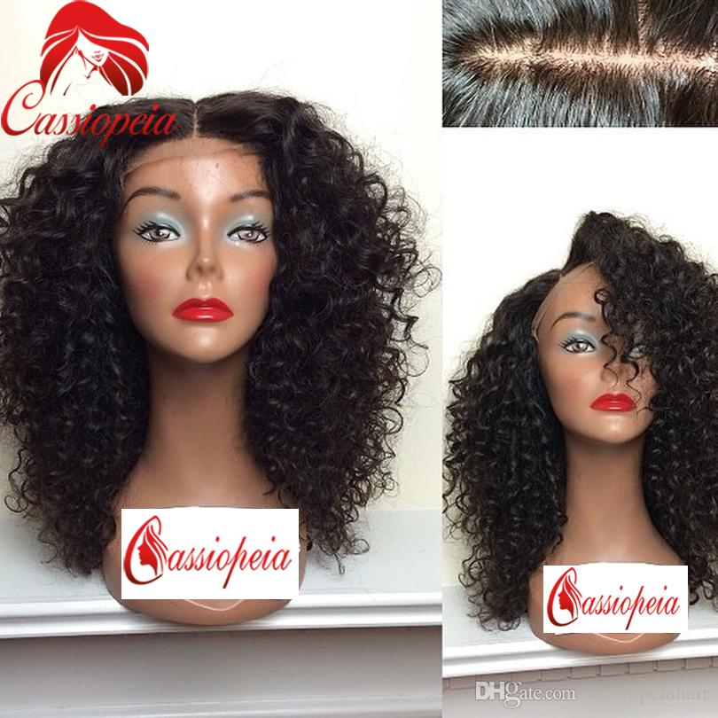Virgin 4x4 Short Curly Silk Base Wig Virgin Brazilian Silk Top Lace Front Wig Glueless Kinky Curly Human Hair Wigs For Black women