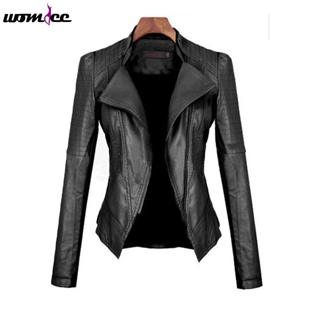 Vente en gros-Mesdames Mode PU Cuir Moto Veste Bomber 2016 Manches Longues Hiver Automne Femmes Turn-down Col Slim Slim Manteau Outwear