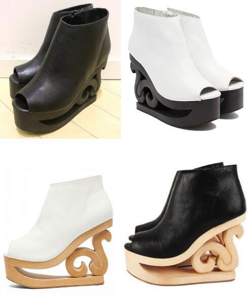 Jeffrey Campbell Skate Platform Boot Booties Scroll Wood Heel Wedges  Cut-Outs 14CM Heels Leather ...