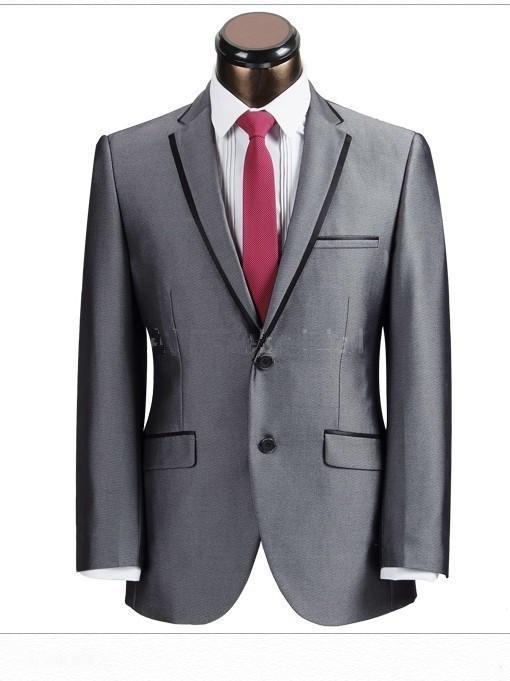 Abiti da sposo grigi per gli sposi Smoking per gli uomini personalizzati 3 pezzi Gemelli con 4 bottoni Tuxedo personalizzati