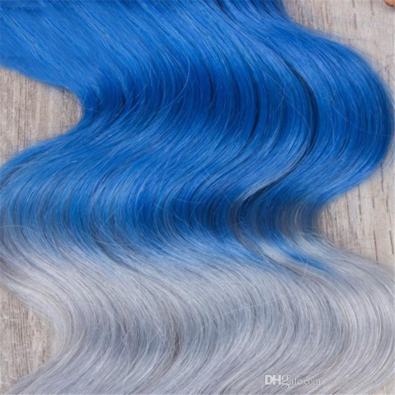 Großhandel 1b Blau Grau Haar Bundles Brasilianisches Reines Haar Bundles 3 Stücke Mit Spitze Schließung Dark Root Slivery Grau Blau Körperwelle Haar