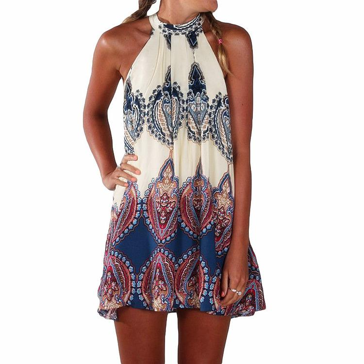 Cheap Dress For Women BOHO Ladies Sleeveless Party Tops Womens Summer Beach Swing Print Floral Dress Women Chiffon Sun Dresses