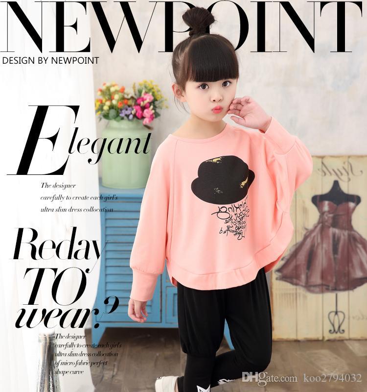 2016 Girl Vêtements Nouveau printemps Enfants Enfants Sweats à capuche Pantalons Twinset Enfants Casual Sport Sport Filles Vêtements Ensembles Ussages