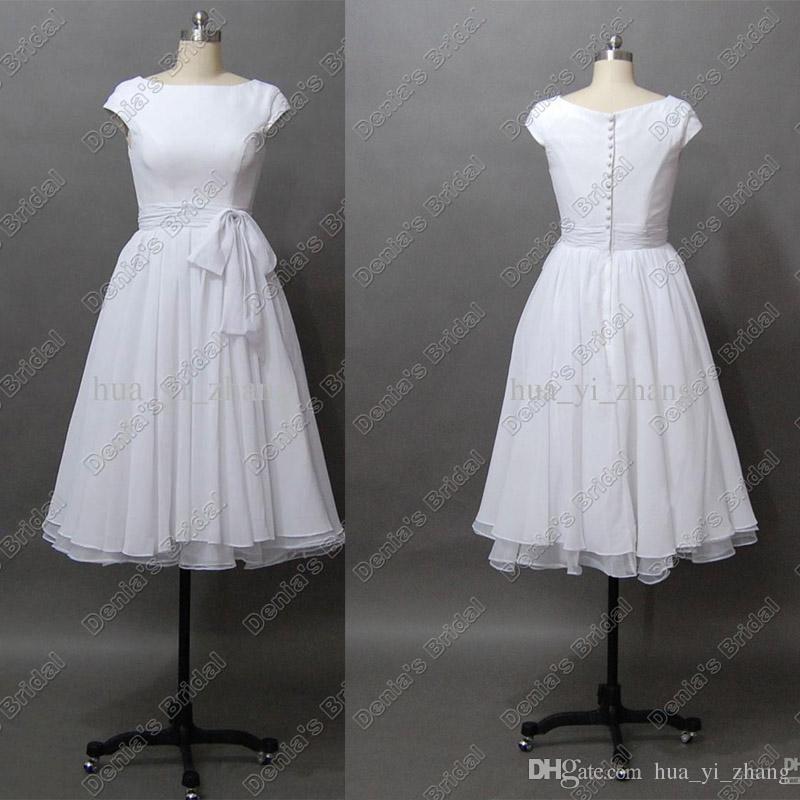 목적지 웨딩 드레스 빈티지 50s '짧은 캡 소매와 차 길이 바또시 폰 진짜 해변 신부 드레스