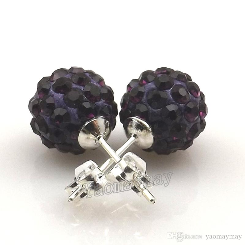 10mm Dark Purple Disco Balls Crystal Earring Studs Silver Plated For Christmas Gift 20 Pairs Wholesale