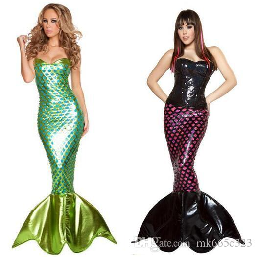 2016 Fashion New Clothing Sequins Flash Color Mermaid Party Dresses Cosplay Plus size sexy Halloween Costumes for Women