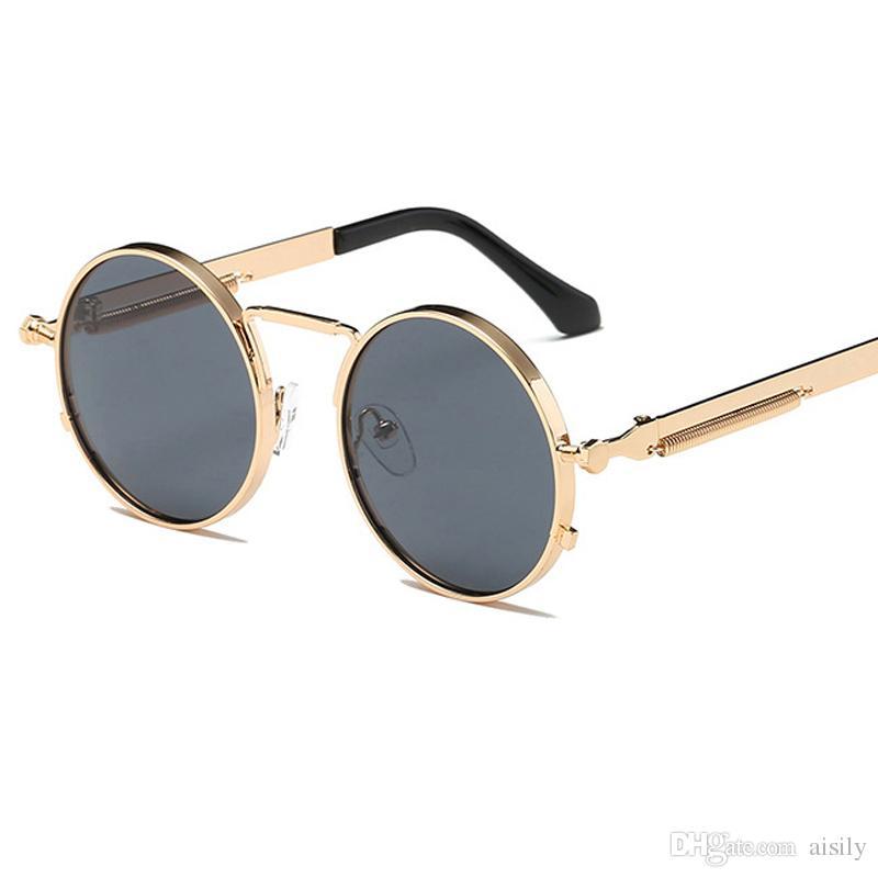 خمر جولة النظارات الشمسية الرجعية نظارات الشمس steampunk المرأة مصمم العلامة التجارية مرآة النظارات الشمسية الإطار المعدني UV400 L18