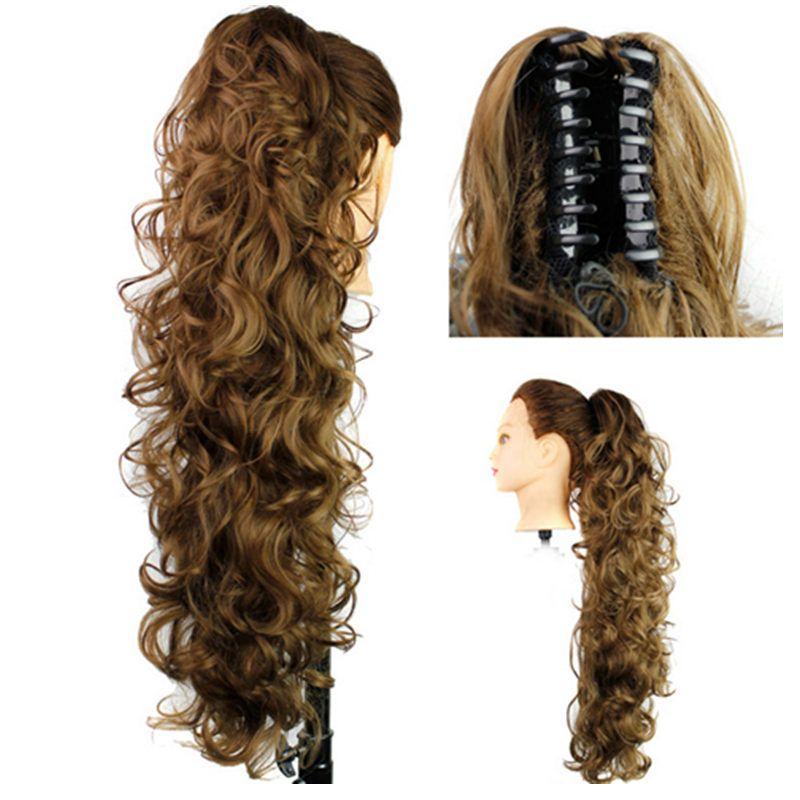 Caballo de caballo sintético PonyTails Claw Pony Tails Mujeres Rizado ondulado clip en las extensiones de cabello 31 pulgadas 220 g Piezas de pelo 12 Color