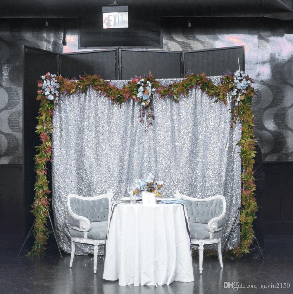 Free Shipping Hot Selling 5FT* 6FT Silver Sequin Fabric Photography Backdrop Wedding Backdrops Sequin Photo Booth Backdrop
