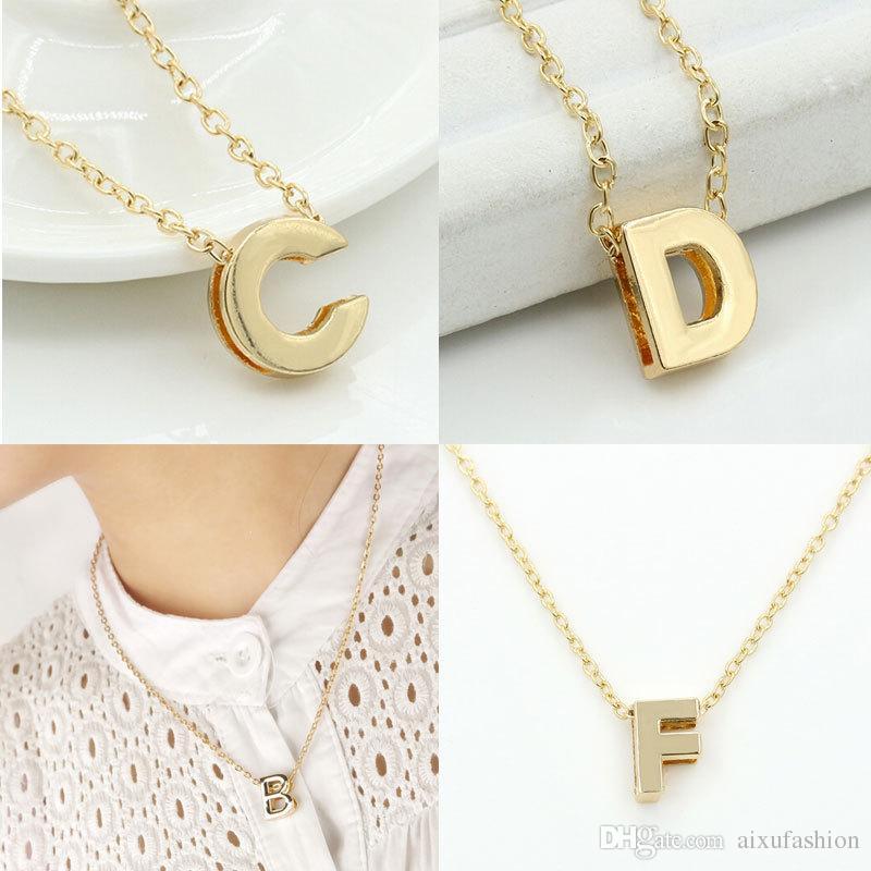 Kleine Buchstaben Anhänger Halskette Gold Farbe Anhänger Kette Halsketten Englischer Brief Schmuck Für Frauen Mädchen Geburtstagsgeschenk