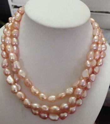 Natürliche 12-13mm Südsee rosa lila Perlenkette 48inch 14k Gold