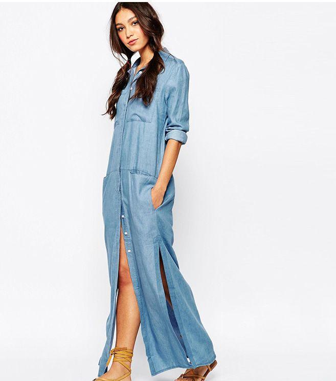 2016 Cowboy Pure Cotton Dress Side Seam Slits 6 Bolsillo Ocio Ropa de trabajo Camisa Falda de fiesta para las mujeres Casual Summer vestidos ajustados