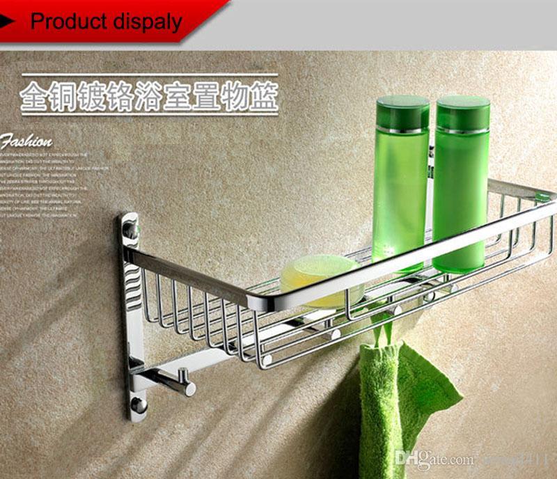 2018 Wall Mounted Chrome Finish Brass Bathroom Shower Basket Shelf ...