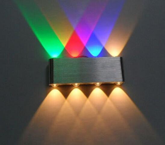 الجديد! 8W مصباح الجدار الشمعدان الأنوار للفندق الممر خطوة قاعة السرير إلى أسفل أسفل الإضاءة الزخرفية الداخلية ، أدى ضوء متعدد الألوان