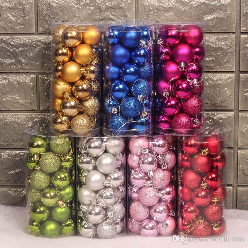 Weihnachtskugel Ornament Splatterproof Bälle 24/43 stücke-Set Weihnachten Muticolor Bäume Hochzeitsfeiern Mini Baum Dekorationen Für Party Supplies