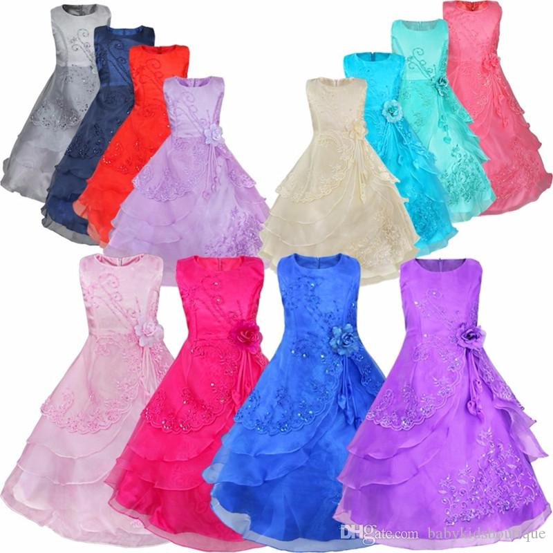 Drop Shipping Flower Girls Dresses with Petticoat Flower Embroidered Party Wedding Bridesmaid Princess Dresses Formal Children Clothes