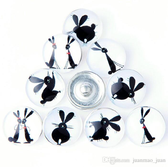 새로운 18MM 스냅 버튼 금속 유리 누사 청크 10 믹스 만화 토끼 스타일 맞추기 여성 어린이 Diy Jewelry Charm Button Bracelet
