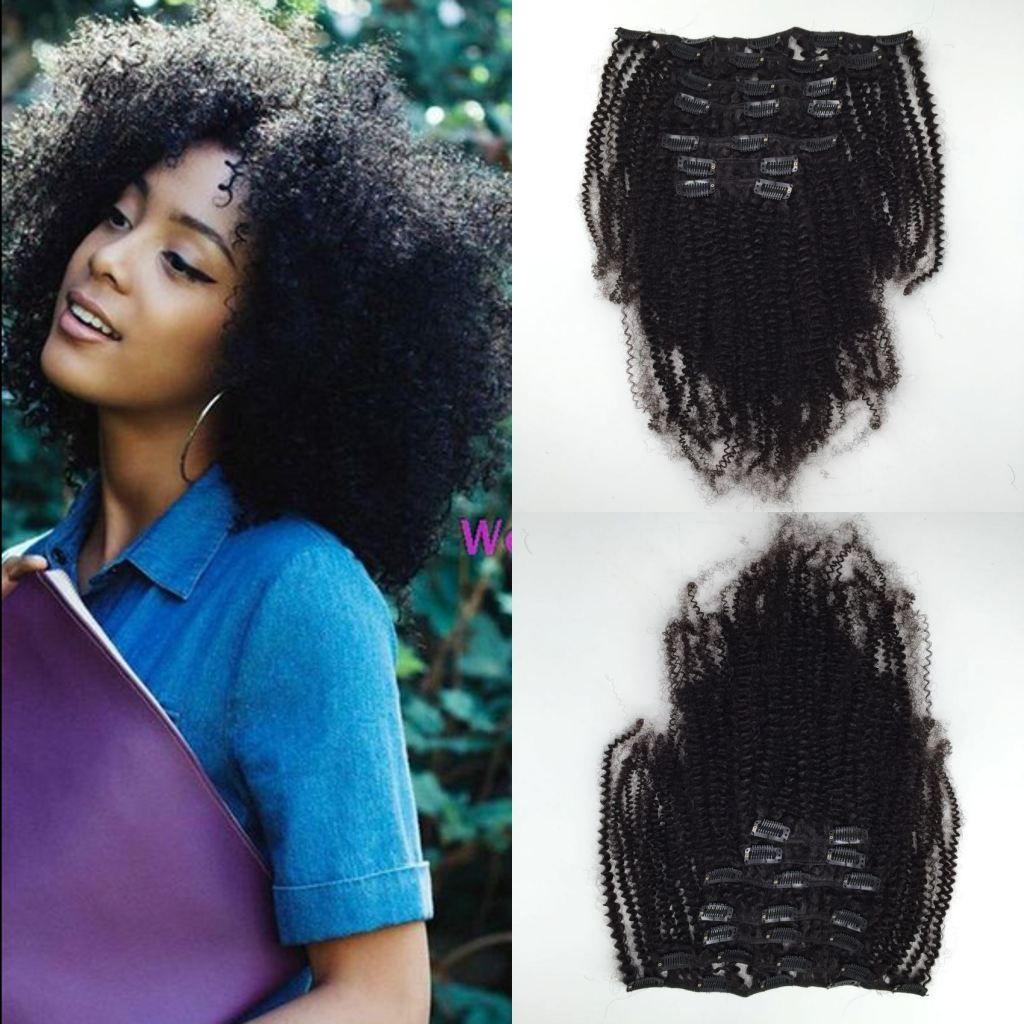 Clip riccia crespa afro crespa dei capelli vergini brasiliani nelle estensioni dei capelli umani 6Pcs / set 120g colore nero naturale stabilito della testa completa Trasporto libero