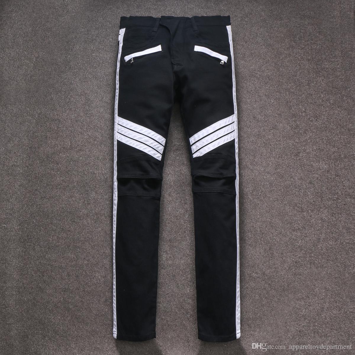 91b3b40691 BALMAIN jeans men High quality men's fashion black jeans swag Stripe  splicing hole jeans white striped pants David Beckham style