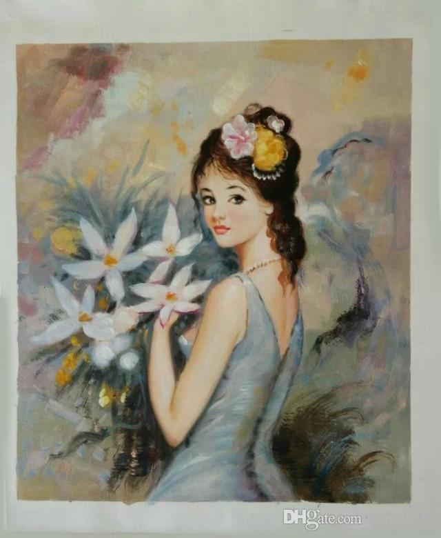 Free Shipping hand-painted canvas oil painting #069 Modern/Fashion figurative An elegant young girl for home dinning/bedroom wall decoration