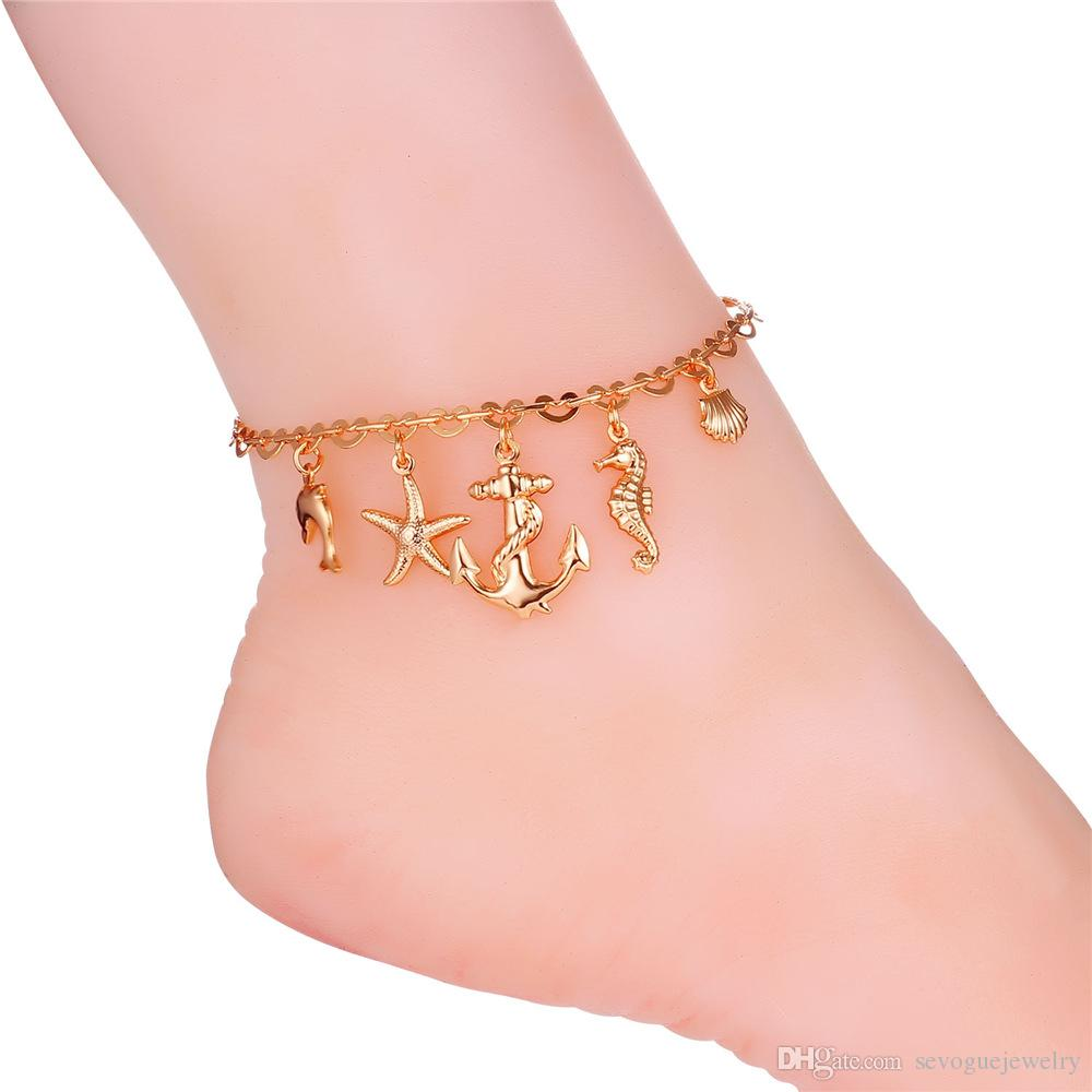 U7 Unisex Anklet Romantic Ocean Free Women/Men 18K Real Gold/Platinum Plated Free Shipping Foot Bracelet Fashion Cute Jewelry 7-A939