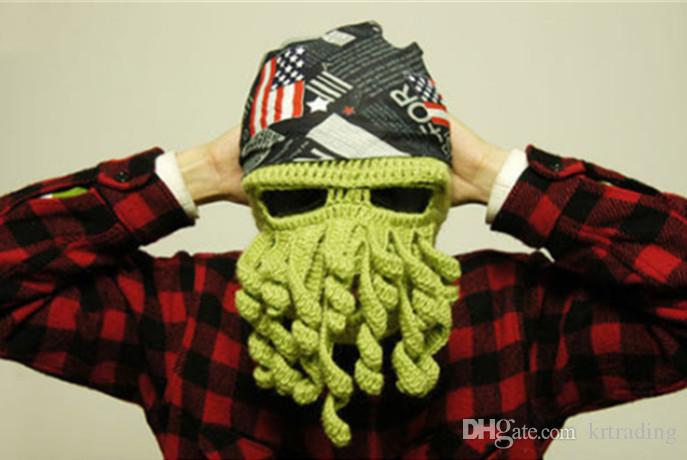 Multicolor Handmade Crochet Octopus wool hat Knit Beanie Whiskers Hat Ski Mask Octopus Cap Funny Hat Christmas Hat for teenage and adult
