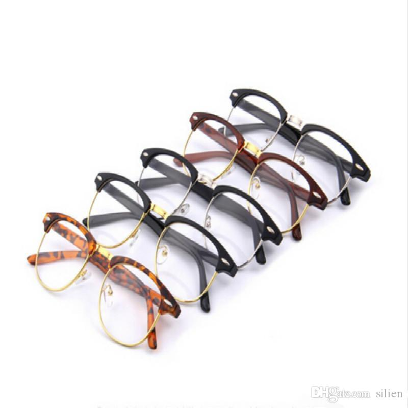 Classic Retro Clear Lens Nerd Frames Glasses Fashion New Eyeglasses Vintage Half Metal Eyewear Frame