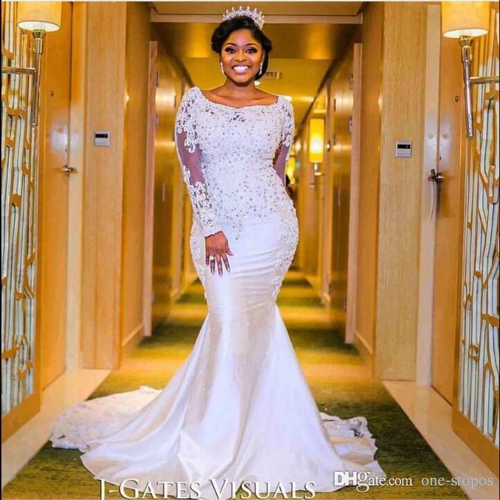 African Beaded Long Sleeves Mermaid Wedding Dresses Bridal Gowns Scoop Neckline Custom Made Trumpet vestidos de novia Satin Court Train 2017