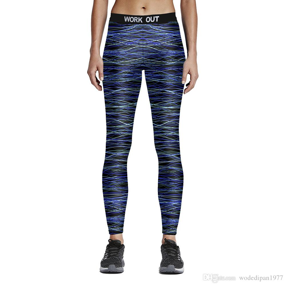 New Womens Work Out Print Pattern Fitness Yoga Pencil Pants Digital Printing Active Elastic Slim Sports Skinny Trousers Ankle-Length Pants