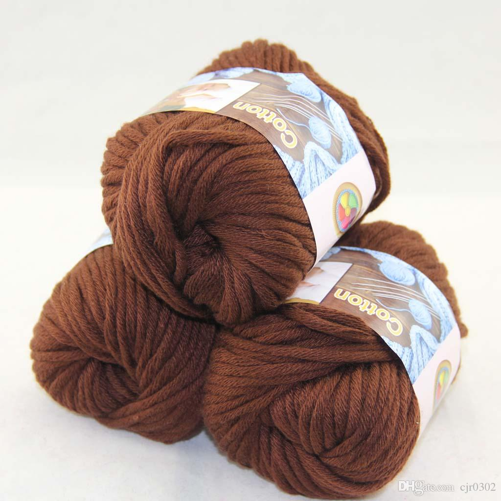 Продажа много 3 BallsX50g специальные толстые камвольно 100% хлопок вязание пряжи шоколад 42214