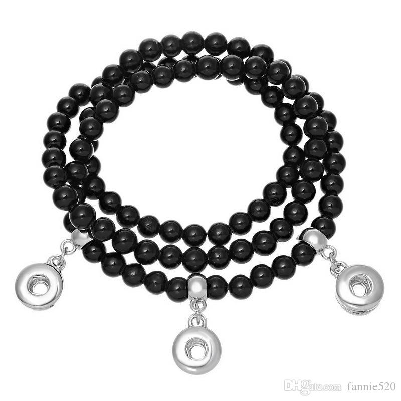 runde perlen noosa armband austauschbare ingwer snap naturstein perlen armband 6 farbe trend schmuck elastische draht diy anhänger armband