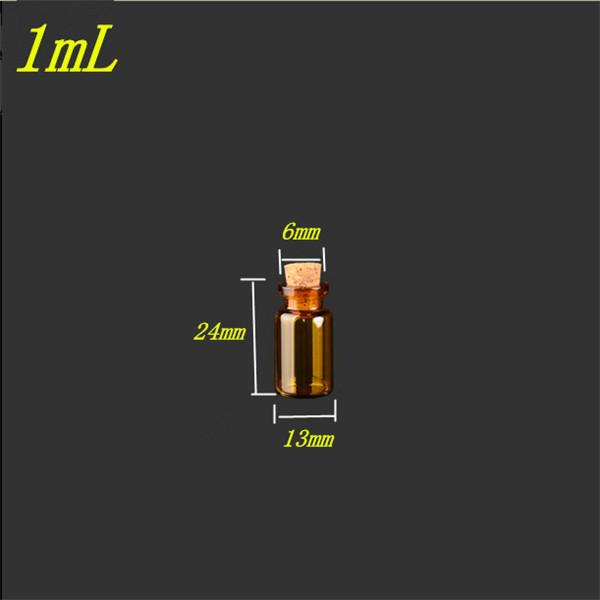 13x24x6 Brown Mini Clear Glass Bottles With Cork Empty Glass Vials Jars
