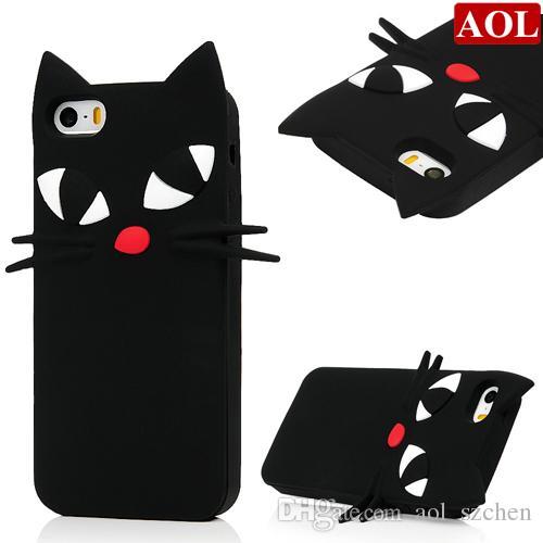 3D Cartoon Japan Sailor Moons cute bow luna black cat soft silicone case For iphone5 5s se 6 6s plus w/Screen Protector+Pen