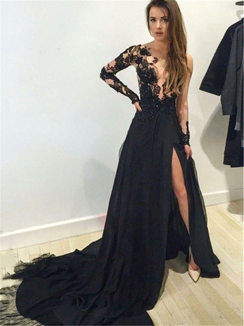 Abiti da sera lungo 2019 Sexy Vedi attraverso abito da sera in chiffon nero  con spacco ... 95799cd26bb