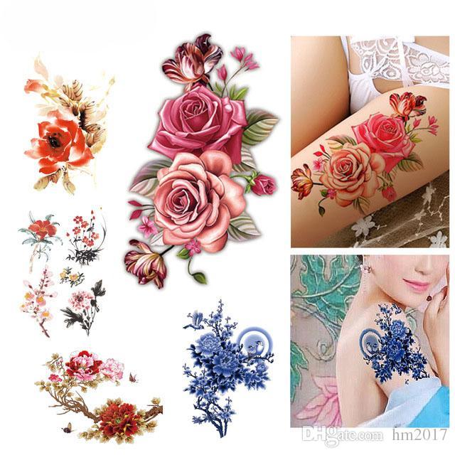 Fleur Oiseau Decal Faux Femmes Hommes BRICOLAGE Henné Body Art Tatouage Conception Papillon Branche D'arbre Vivid Autocollant De Tatouage Temporaire