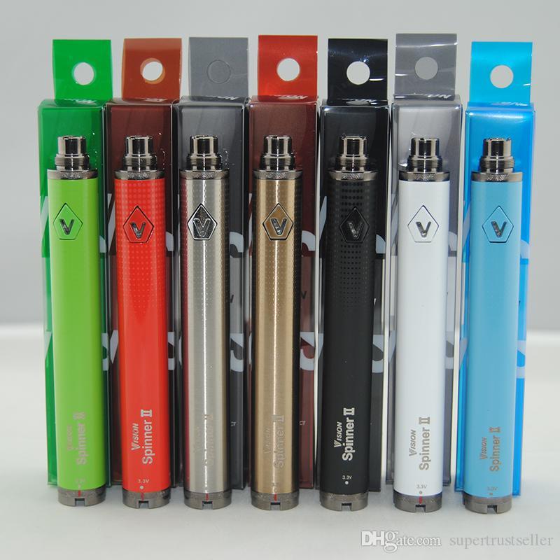 Ego C Twist Vape Vaporizer Pen 1650MAH Variável Tensão 3.3-4.8V Visão Spinner II 2 Bateria para Atomizador do Ego com Embalagem