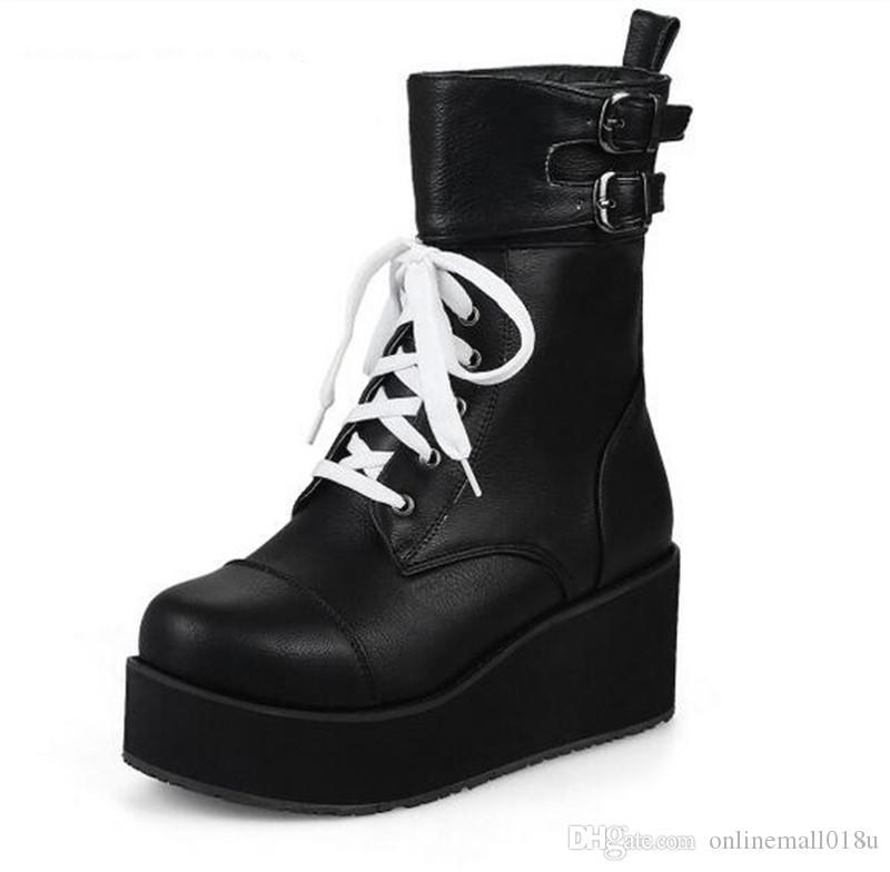 Kaya Punk Gotik Çizmeler Kadın Ayakkabı Platformu Creepers Kama Yüksek Topuklu Martin Çizmeler Lace Up Motorcyle Ayak Bileği Çizmeler