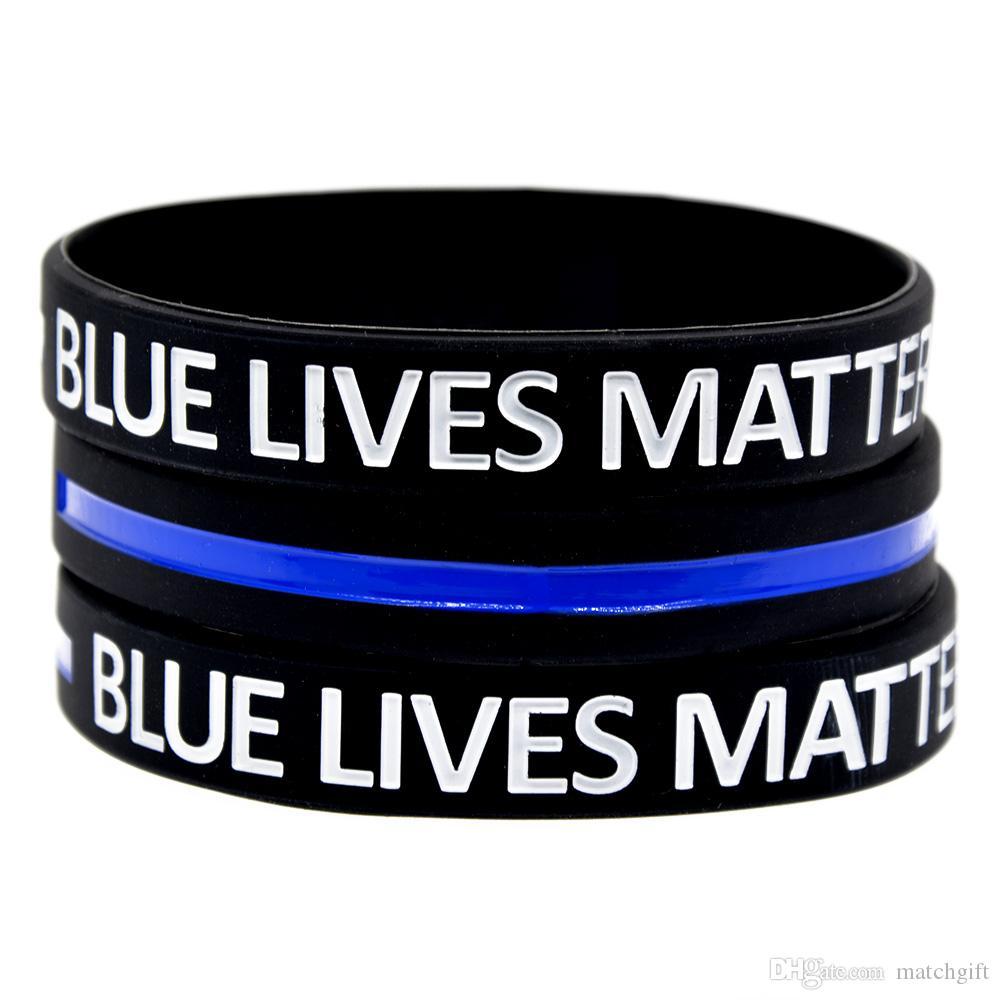 100PCS الأزرق حياة المسألة سيليكون سوار المطاط debossed logo وملأ حبر خاص ضئيل إلى الجسم