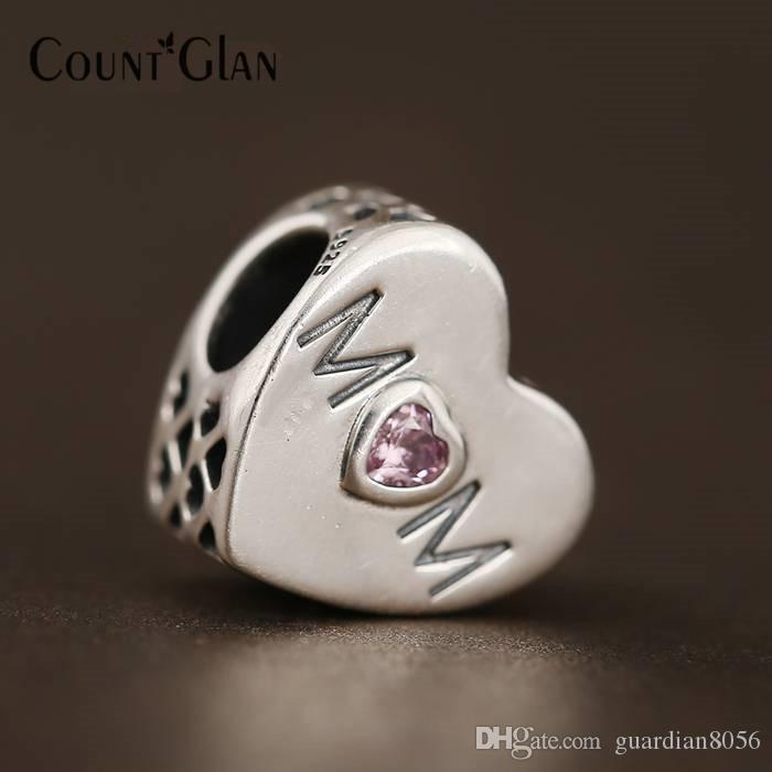 Perline cuore madre Fit Pandora Charms bracciali in argento sterling 925 originale rosa cz mamma amore cuore perline per fare gioielli fai da te