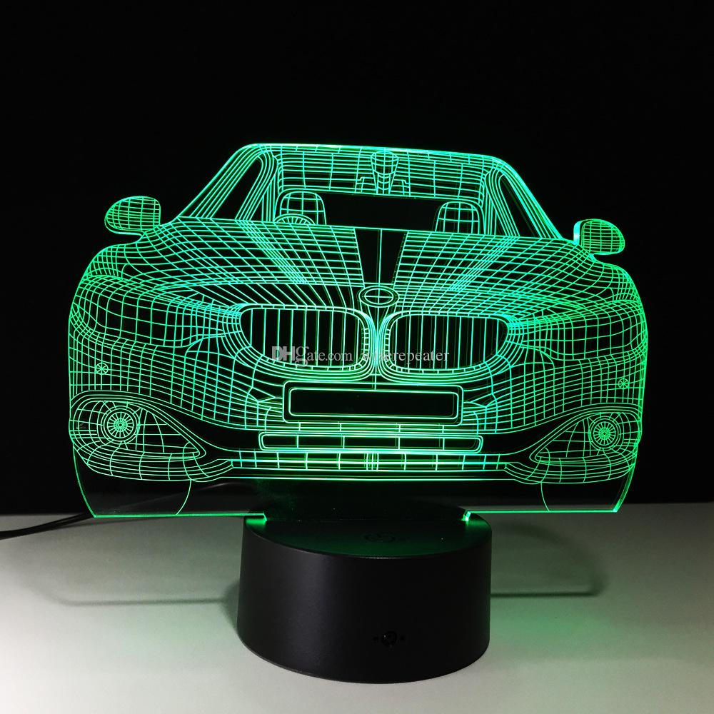 3D Car Auto Illusion Lamp Night Light DC 5V USB Powered 5th Battery Wholesale Dropshipping Free Shipping